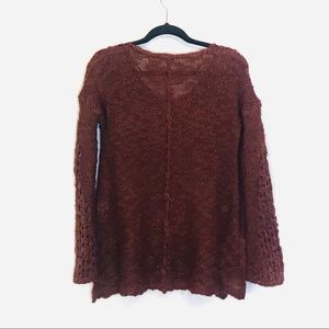 Mystree Sweaters - Mystree Open Knit Sweater w/Bell Sleeves